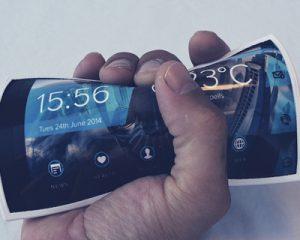 The Portal Wearable phone flexed