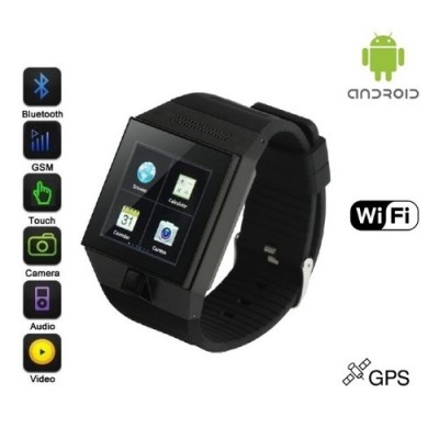 Android-Ultra-SmartWatch-Black-Case-Black-Strap-SmartWatch-with-Quad-Band-GSM-Bluetooth-Cell-Phone-WI-FI-Built-In-GPS-Music-and-Video-Multimedia-Player-FM-radio-Camera-etc-Includes-8GB-Flash-Micro-SD--0