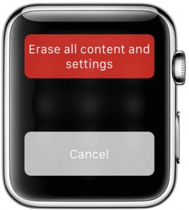 Apple Watch erase all content