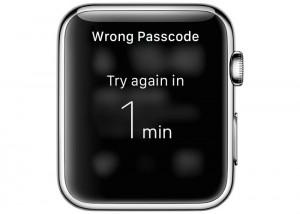 Apple Watch wrong passcode message