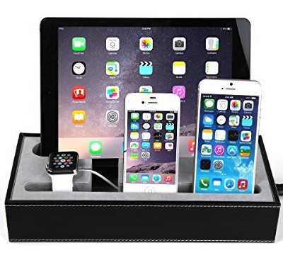 4-in-1-Apple-Watch-Stand-Iphone-iPad-Charging-Station-MultipleIphone-iPad-Charging-DockSmartphone-Desk-Charging-StationKonsait-Black-Leatherette-Apple-Watch-Charging-Stand-Cradle-Holder-0