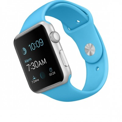 Apple Watch Sport 38mm with Blue Band angled