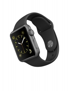 smartwatch deals - Apple Watch Sport 38mm with black band angled