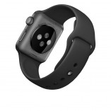 Apple Watch Sport 38mm with black band rear facing