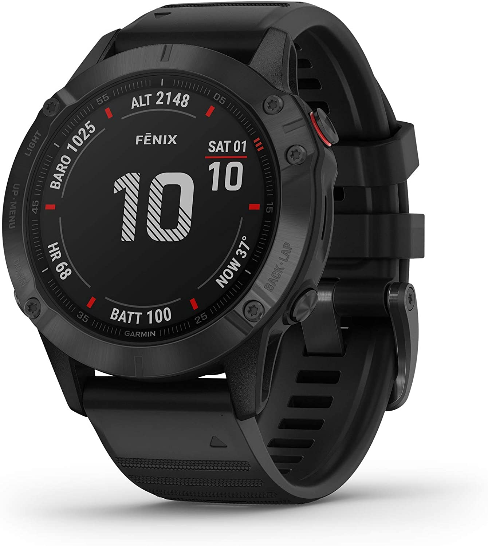 garmin fenix 6 pro long battery smartwatch isolated on white background