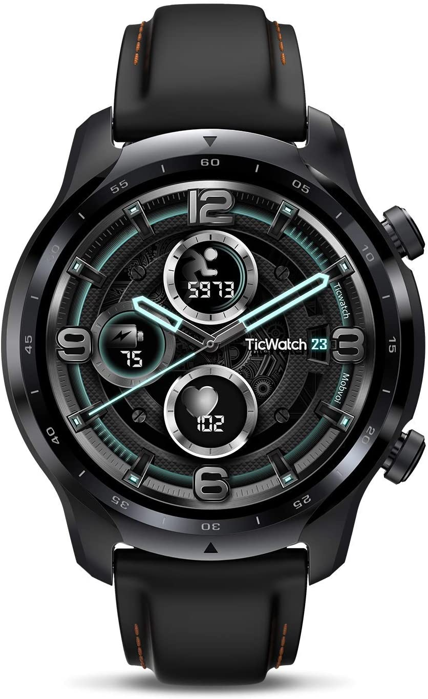 ticwatch pro 3 long battery life watch isolated on white background