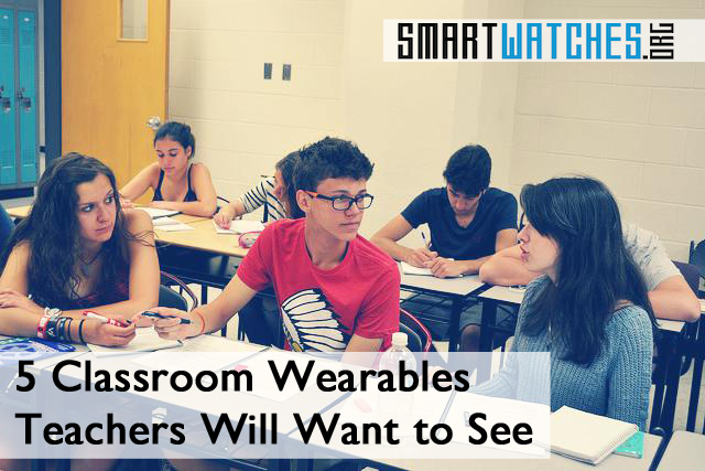 Kids in class discussing classroom wearables