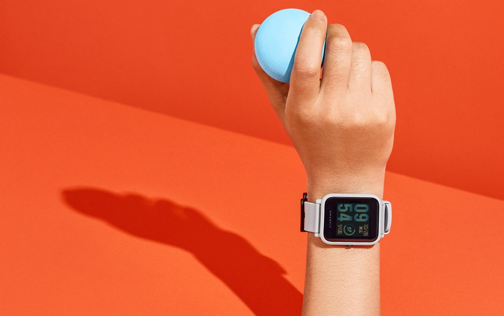 amazfit bip smartwatch white cloud on hand