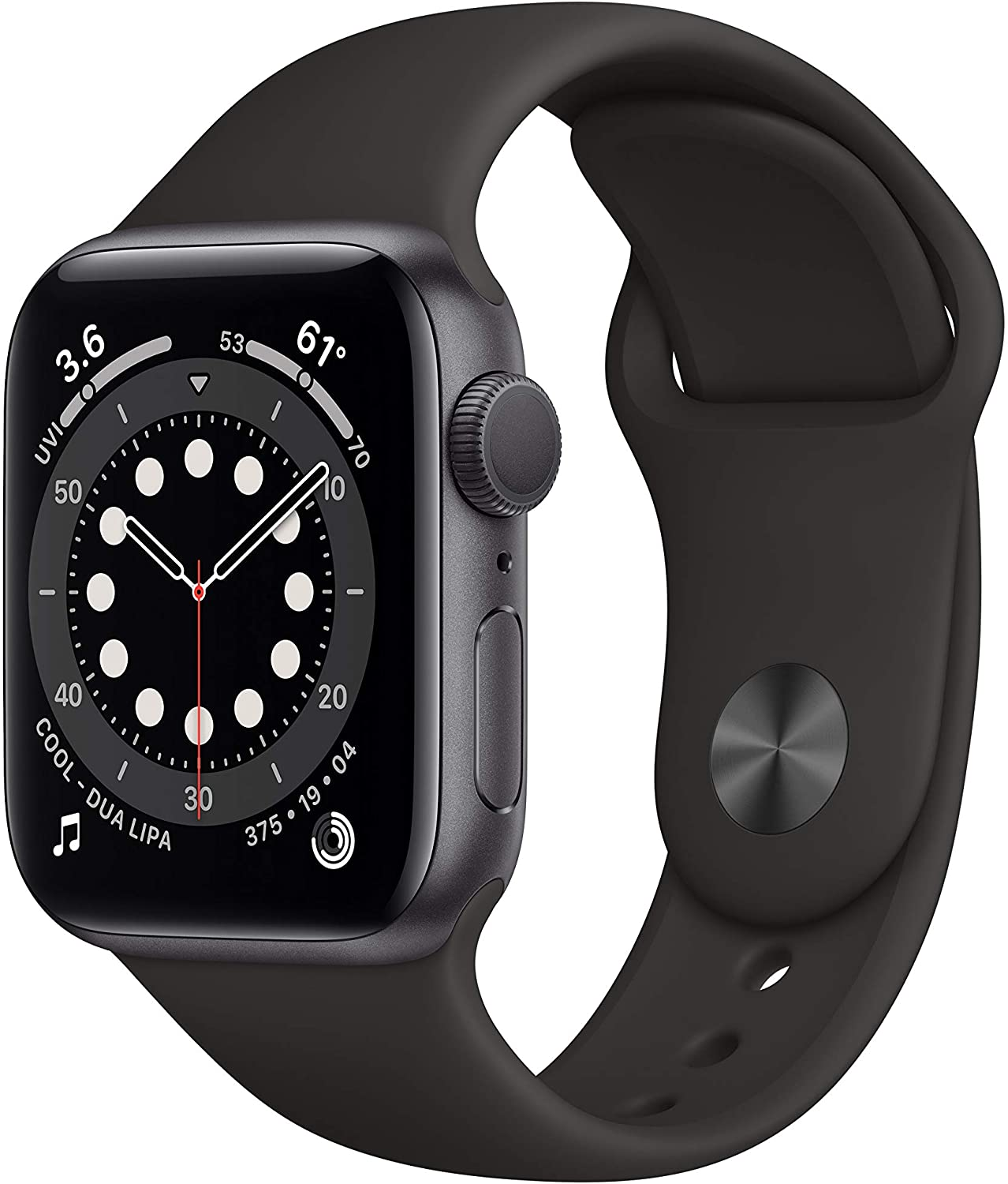 new apple watch series 6 black color isolated on white background