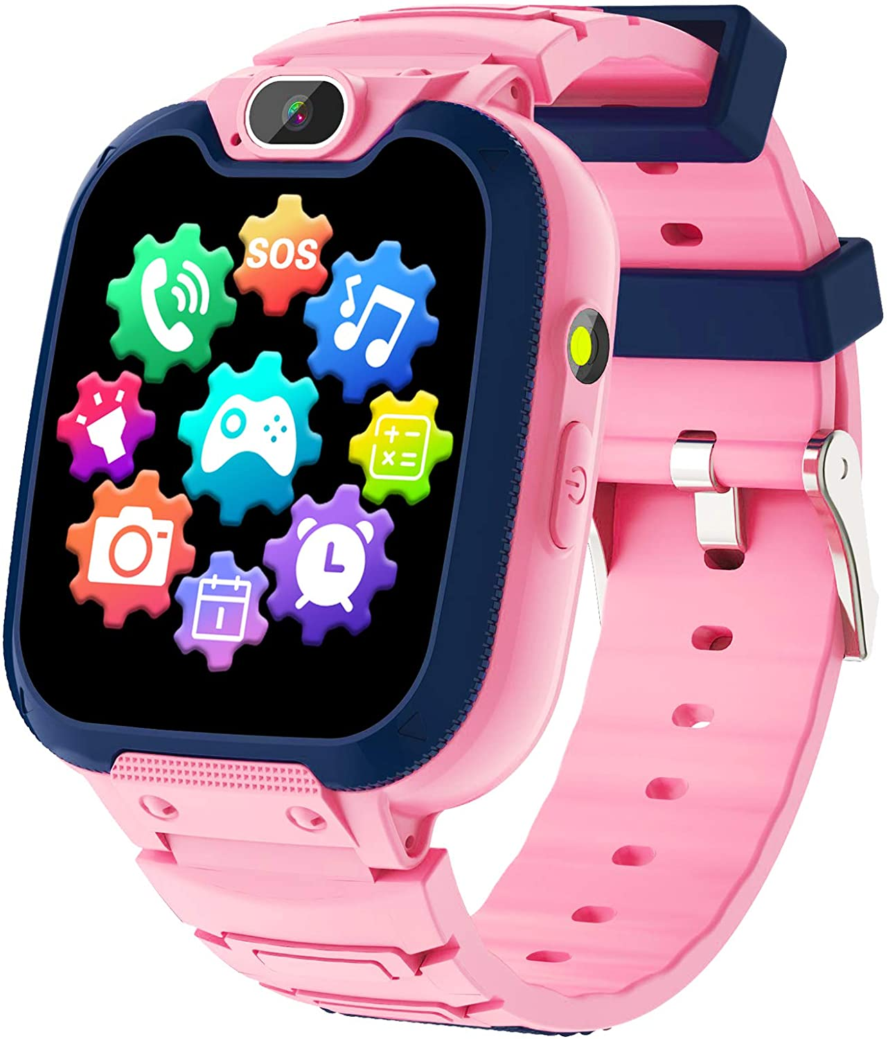 nadaho kids smartwatch pink color, isolated on white background