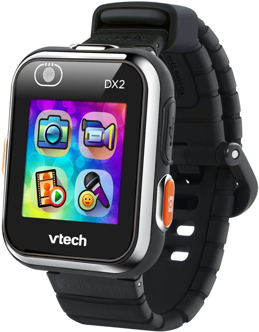 vtech kidizoom smartwatch dx2 for kids in black color, isolated on white background