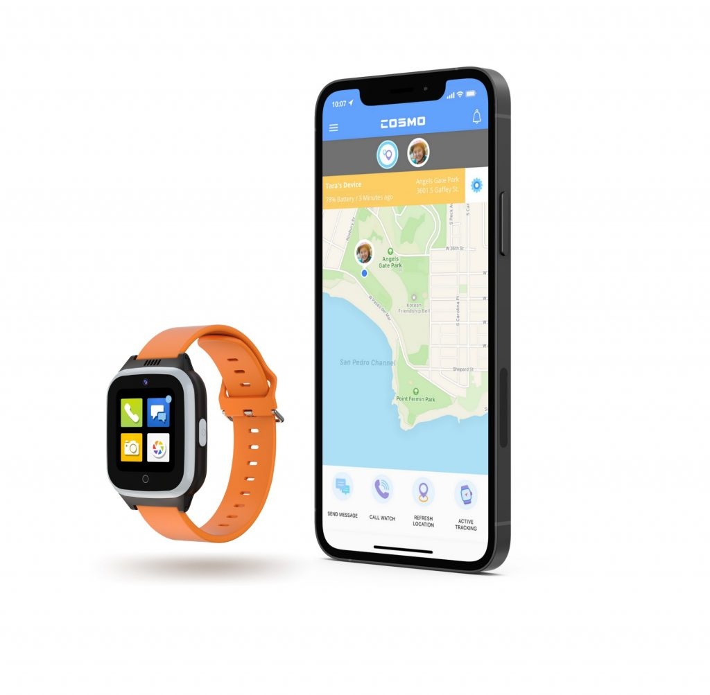 Cosmo JrTrack 2 kids smartwatch with mobile app side by side.